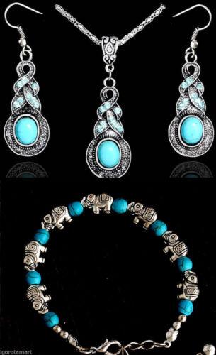 Woman Lady Tibetan Silver Blue Turquoise Pendant Necklace Bracelet Jewelry Girl