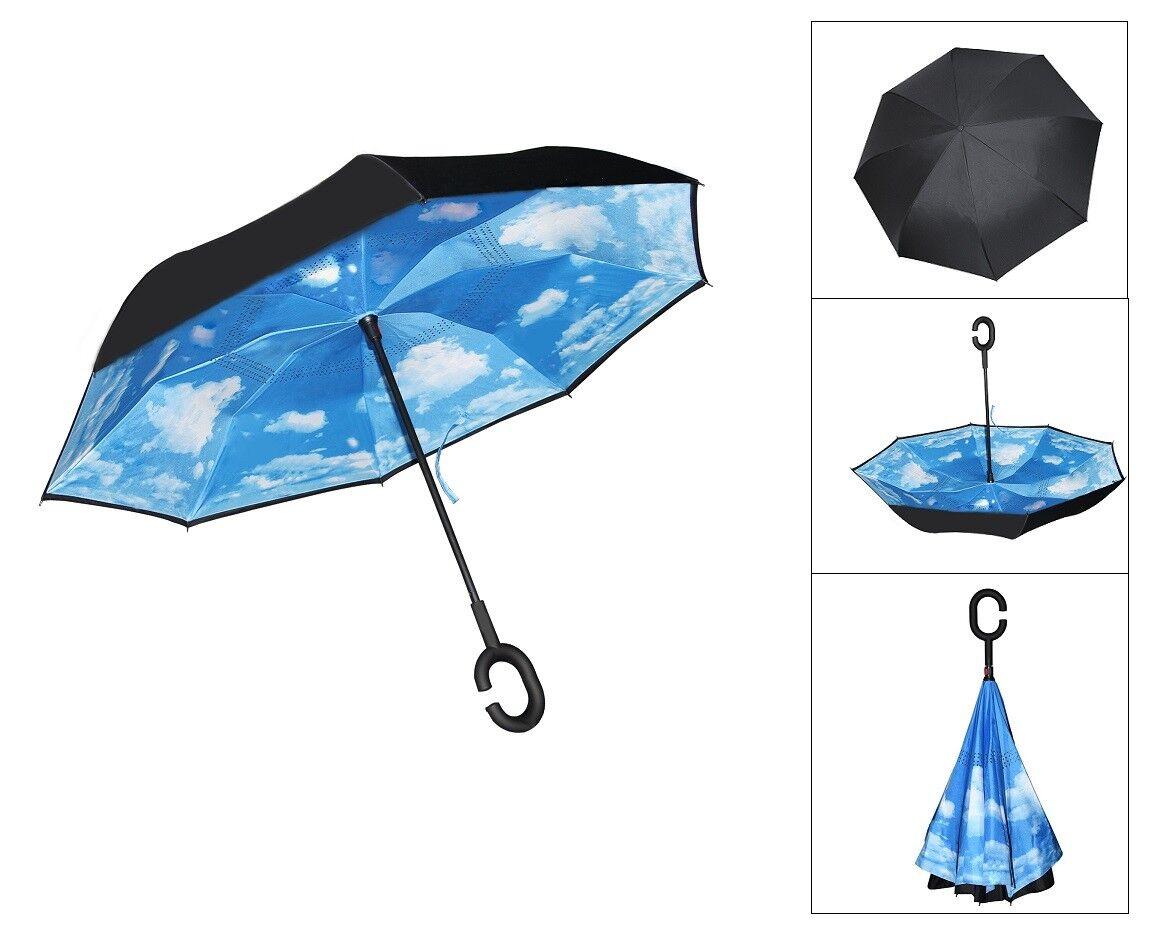 Windproof Rain Umbrella Inverted Reverse Double Layer Upside Down C-Handle COOL 5