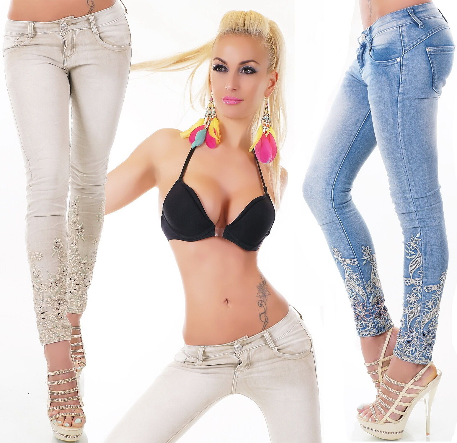 Women's Embroidered Ankle Skinny Denim Jeans - XS s M L XL