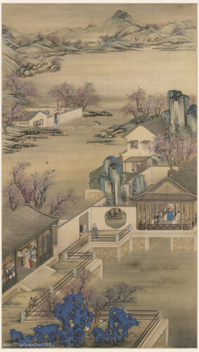 Chinese scroll painting Mountain landscape Sansui Emperor to admire peach flower