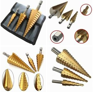 3PCS Step Drill Bit Set cône trou Cutter 4-12/20/32mm HSS Tin-Coated + Noir Étui
