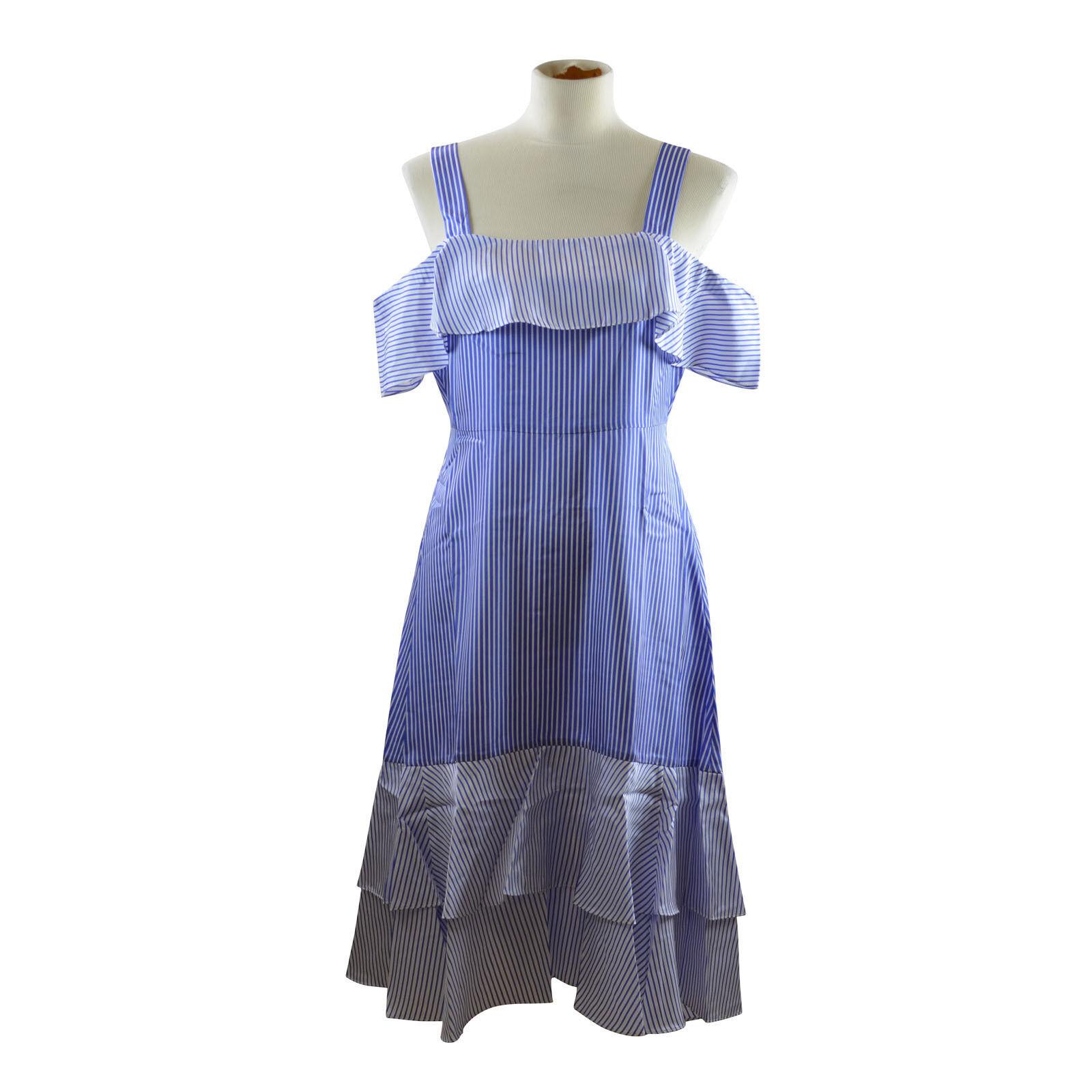 J. Crew Striped Cold Cold Cold Shoulder Silk Dress in True bluee Size 8 e2e100