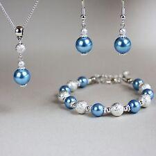 Ice blue pearl necklace bracelet earring silver wedding bridesmaid jewellery set