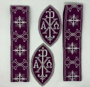 Plata-Cojos-Purpura-Vestment-A-amp-o-Px-Cruz-Emblems-Banda-4-PC-Lote-Bundle