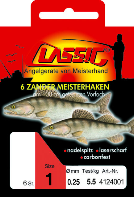 Paladin CLASSIC Zander-Meisterhaken gebunden 6 Stk Gr 1 Angel-Haken