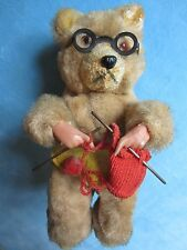 Wind-Up Grandmother Bear w/Black Metal Glasses Knitting~Mohair/ApronYarn~Germany