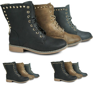 5a86913be71b4f Das Bild wird geladen Damen-Stiefeletten-Worker-Boots-Nieten-Glitzer- Schnuerboots-Outdoor-