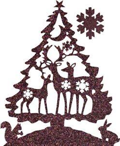XMAS-Die-Cut-Glitter-Christmas-Tree-Deer-Snowflake-x-6-Christmas-card-making