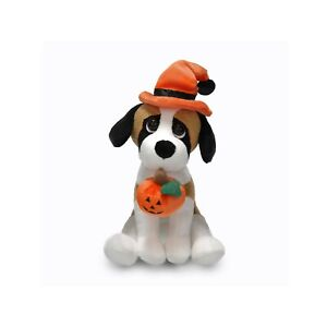 Halloween-Pawpals-8-034-Beagle-Dog-with-Hat-and-Halloween-Jack-O-Lantern