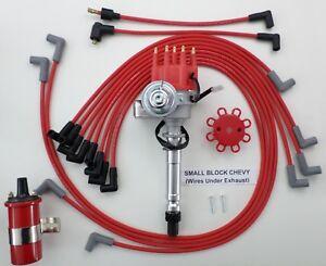 small block chevy small hei distributor red 45k coil plug wires rh ebay com