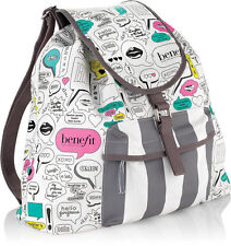 NEW Benefit Cosmetics CANVAS BACKPACK - Girly Prints, Thouht Bubble - Limited