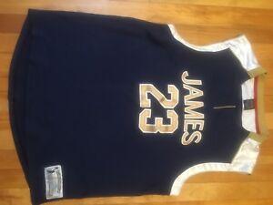 new concept 29e7d 36105 Details about Nike Lebron James High School Retro 23 Navy Blue Throwback  Jersey Medium Rare
