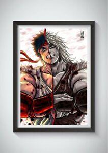Ryu Vs Ken Wall Art Poster Print Street Fighter Anime Gift Video