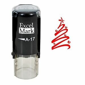 NEW ExcelMark Tree Round Self Inking Christmas Rubber ...