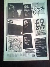 """MIKE OLDFIELD / Japan / Ruts albums 1980 UK Poster size Press ADVERT 16x12"""""""