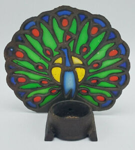 Vintage-Cast-Iron-Stained-Glass-Candle-Reflector-Peacock-5-034-tall-x-5-1-2-034-Wide