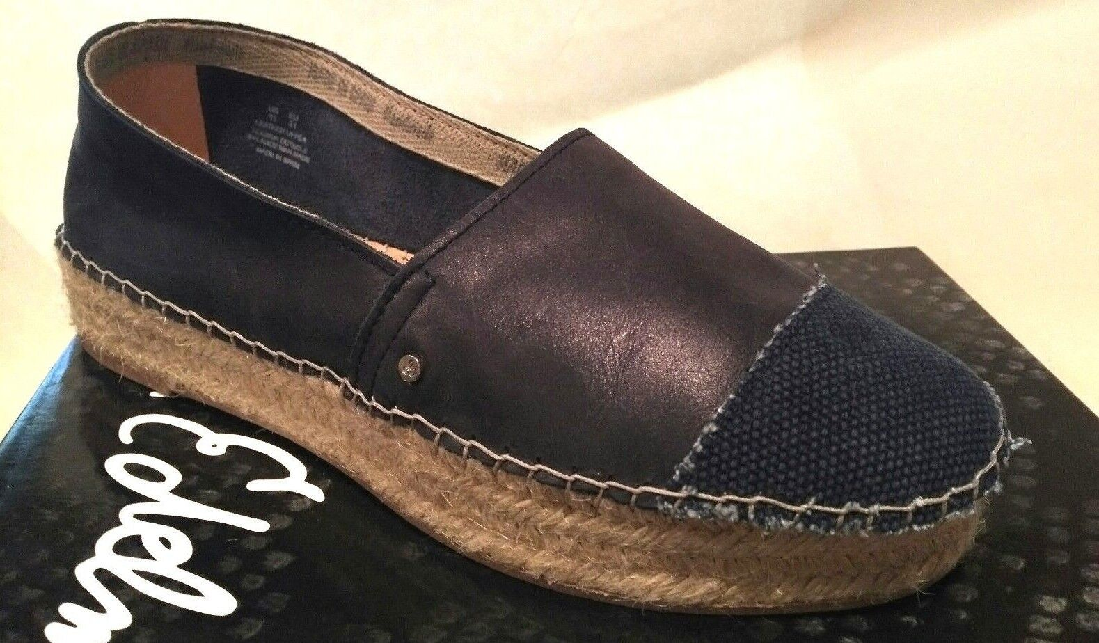 New  Sam Edelman Leather Platform Espadrille Flat 41 10 NAVY Handmade Spain  190