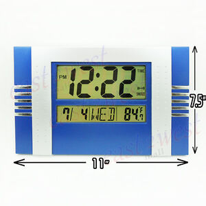 LCD-Digital-Desktop-Wall-Clock-Thermometer-Time-Alarm-Clock-BLUE-Silver