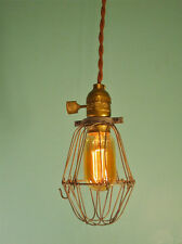 Vintage Industrial Cage Light - Machine Age Minimalist Bare Bulb Pendant Lamp