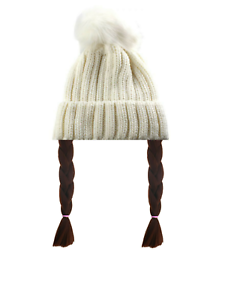 Greta Thunberg Costume Hat Hair Wig Hairpiece White Woolly Bobble Climate Change