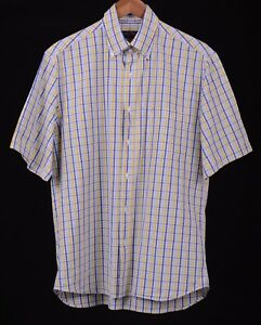 Paul-amp-Shark-Yachting-Blue-Yellow-Plaid-Check-Cotton-Button-Up-S-S-Shirt-41-16