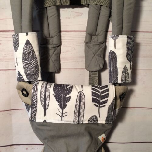 Teething drool pads and bib for Ergo 360 Manduca tribal feathers grey woodlands