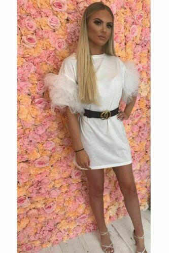 Ladies Pinafore Ruffle Strap Frill Pleated Fashion Summer Beach Party Mini Dress
