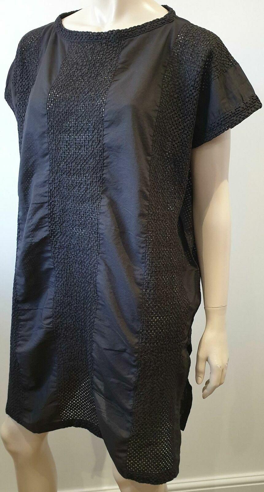 ISSEY MIYAKE ME noir 100% coton à hommeches courtes d'été Tunique Caftan Robe