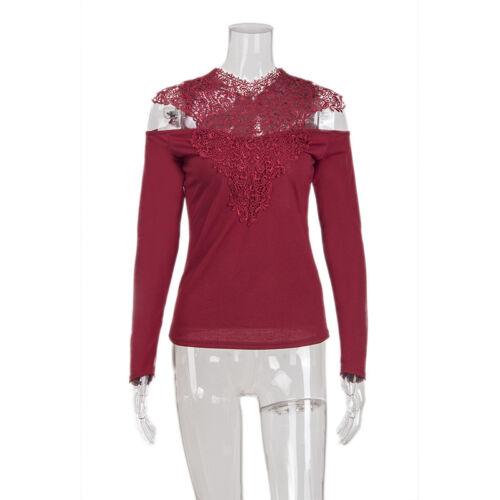 Women Lace Crochet Cold Shoulder T-Shirt Ladies Long Sleeve Slim Fit Blouse Tops