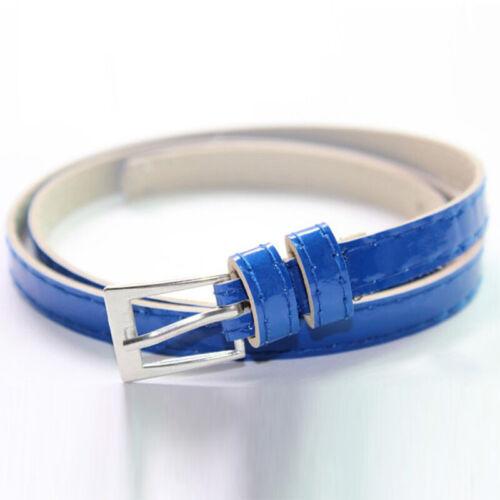 Women/'s Fashion Colorful Skinny Thin Waist Belt Patent Leather Narrow Waistband