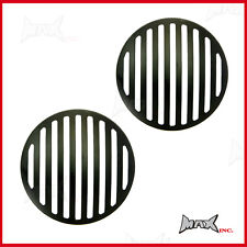 """Black Grill Headlight Covers - Fits Honda Civic with 7"""" round driving lights"""