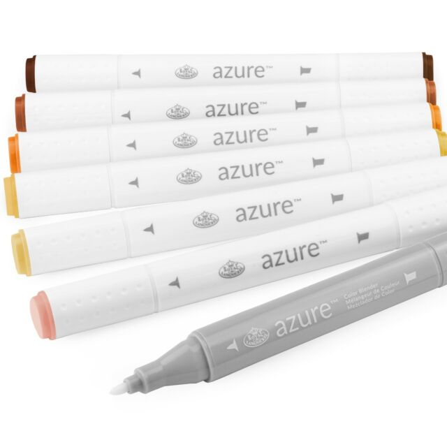 Royal /& Langnickel Azure Dual Tip Marker Set 6+1 Warm Grey Tone Colours SALE