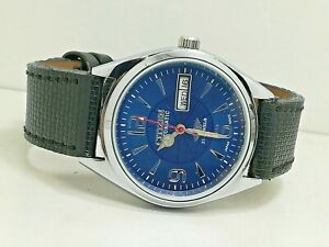 Citizen-Automatic-MENS-STEEL-Vintage-DAY-DATE-BLUE-Dial-Watch-Run-Order