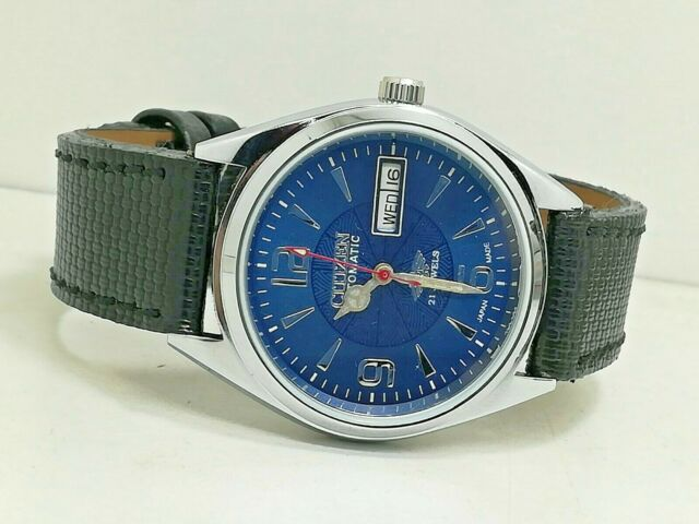 Citizen Automatic MENS STEEL Vintage DAY DATE BLUE Dial Watch Run Order