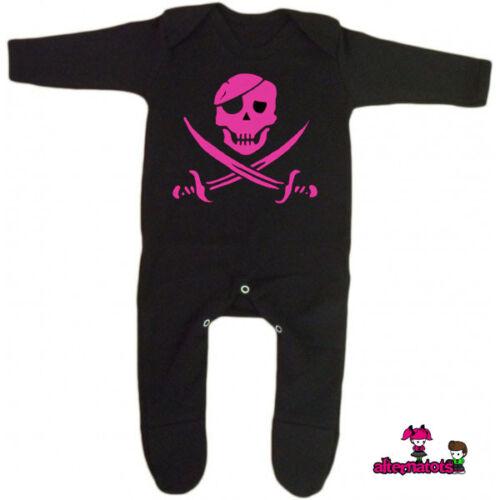 Punk Girl Goth Baby All Sizes Pink Pirate Skull /& Crossbones Romper Suit Black