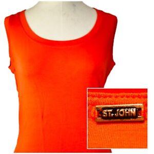 St-John-Marie-Gray-Orange-Tank-Top-Shell-Size-Medium-M-Viscose-Back-Metal-Tag
