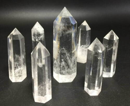 NATURAL CLEAR QUARTZ CRYSTAL TOWER POINT POLISHED HEALING WAND SET SEVEN 7