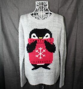 313054f31f Jolt Sweater Ladies Size Medium Penquin Gray Long Sleeve Junior Jumper
