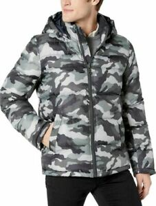 Tommy Hilfiger Men's Gray Camouflage Quilted Puffer Hooded ...