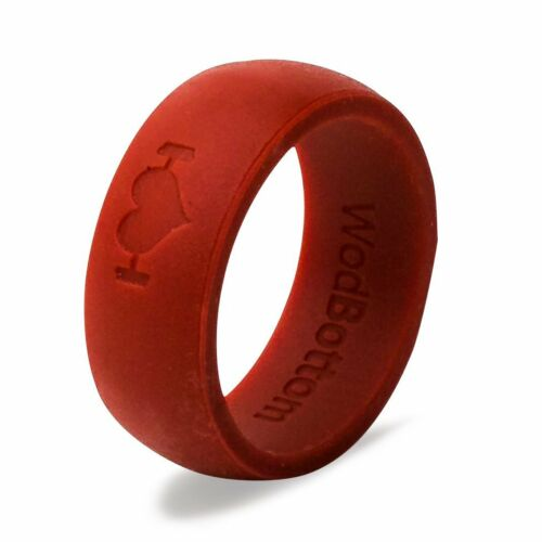 Red Silicone Wedding Rings for Men, Band Perfect for CrossFit, Fitness