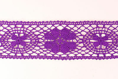 10 metres × 40mm White /& Navy Diamond Patterned Crochet Cotton Lace Trim Vintage