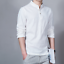 Fashion-Men-Flax-Long-Sleeve-Slim-Fit-Shirt-Casual-Mandarin-Collar-Top-Tee-Shirt thumbnail 14