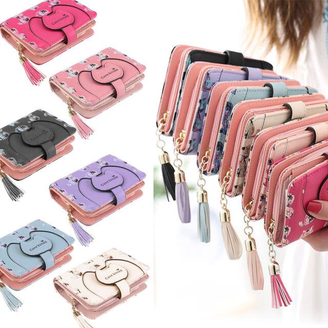 Women Cute Cat Short Wallet Purse Tassel Coin Bag Zipper Card Holder Hangbags