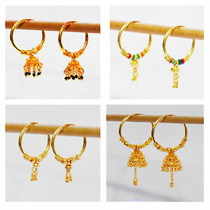 Image Is Loading Yellow Gold Earrings Hoop Womens Indian Fashion