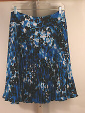 Ann Taylor Animal Print Pleated Skirt 10 Blue NWT