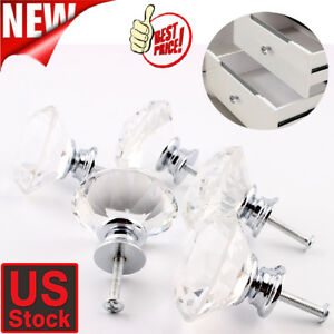 20-Vintage-Crystal-Clear-Glass-Door-Knobs-Pulls-Cabinet-Antique-Furniture-Drawer