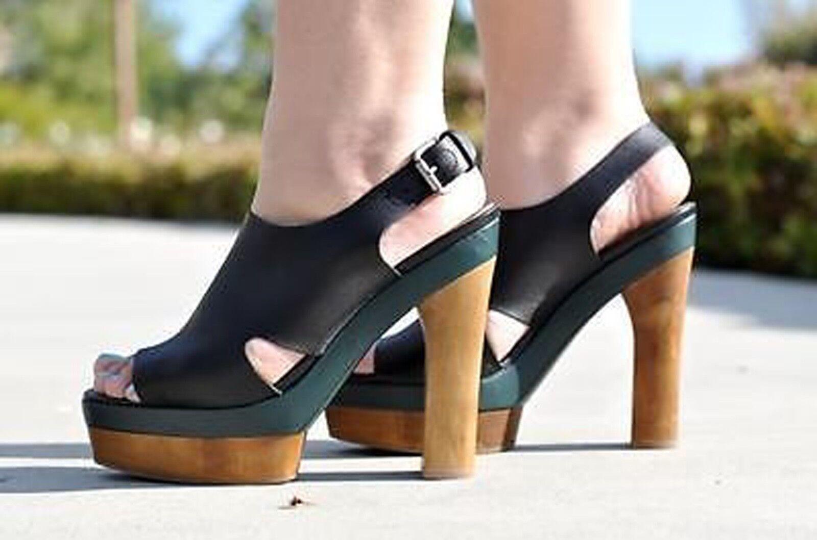 Marni H&M Negro Cuero De Madera Verde + Tacones Plataformas Sandalias Zapatos /