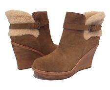 045305d7e6d UGG Glen Black Leather/ Sheepskin Winter Ankle Wedge BOOTS US 11 ...