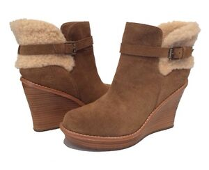 77bd91c5554c UGG ANAIS ANKLE BOOTS WEDGE BOOTIES BROWN CHESTNUT US 11  EUR 42  UK ...
