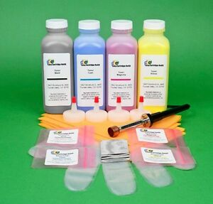 HP CP4020 CP4025dn CP4025n 4-Color Toner Refill Kit w/ Hole-Making Tool & Chips